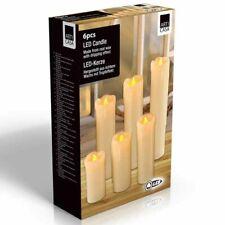 6 x Candele a LED in Vera Cera Altezza Diversa Decorazione Tavolo Festa Ricordo