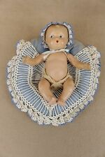 "10"" vintage composition character baby boy doll with blue crocheted pillow bed"