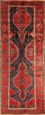 Antique Tribal Geometric Bakhtiari Hand-Knotted Runner Rug Hallway Carpet 4'x9'