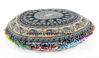 "32"" Pom Lace Floor Pillow Indian Elephant Mandala Printed Cotton Cushion Pouf"