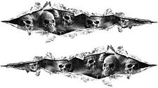 """Ripped Torn Metal Style Decals Gray Skulls 18"""" REFLECTIVE RIP01"""
