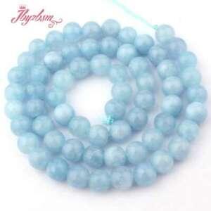 """6mm Round  Aquamarine Jade Blue Gemstone Beads for Jewelry Making Strand 15"""" DIY"""