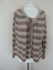 M&S Beige Taupe Mocha Striped Soft Cotton Wool Drawstring Cardigan Size 18 BNWT