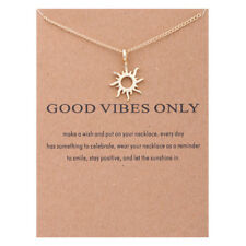 "Women's Fashion Jewelry ""Good Vibes Only"" Gold Pendant Necklace 11"