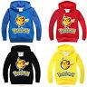 Pokemon Pikachu Kids Clothes Boy Girls Hooded Sweatshirt Long Sleeve Top T-Shirt