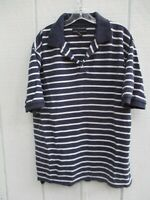 Croft & Barrow Men's Size M 100% Cotton Blue Striped Short Sleeve Polo Shirt