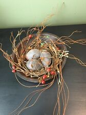 Primitive Wooden Bowl With Decorative Eggs And Berry Ring