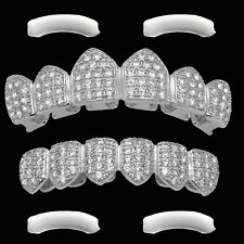 White Gold Plated Top & Bottom GRILLZ w/ Extra Silicone Moldings -Mouth Teeth-