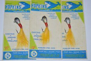 3 vintage hopkins hammer tails 1/2oz #3 chrome yellow Jig jigging cottage decor