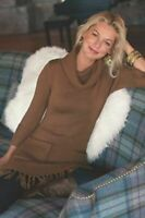 Soft Surroundings Brown Montreux Sweater Tunic Petite Small Fringed Pockets