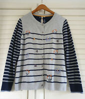 White Stuff Garland Embroidered Cardigan Womens Size 12 Wool Blend Striped Navy