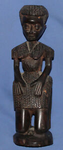 Vintage hand carved wood African woman statuette