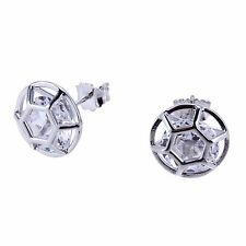 Chete Sparkling Sterling Silver Frame Stud Earrings with Dancing Stone