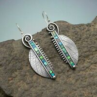 Fashion 925 Silver Leaf Earrings Hook Dangle Women Wedding Gift Party Jewelry