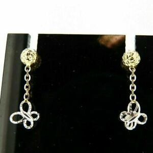 Earrings Used Reconditioned Gold Solid 18 Carats Butterflies Hanging
