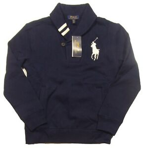 Polo Ralph Lauren Boys Navy Big Pony Shawl Collar Fleece Lined Sweatshirt