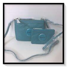 Mimco Leather SECRET Couch Hip Across body Hand Bag BNWT $199 AQUA Bonus Purse