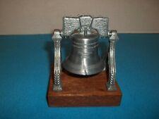 1776 Replica Liberty Bell Silver Colored Die Cast Metal w/Mahogany Base Nib