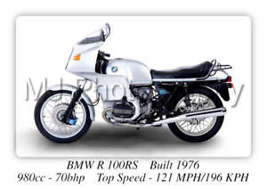 BMW R 100RS Motorcycle - A3 Size Print Poster on Photographic Paper