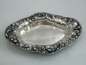 VERY FINE UNGER BROS STERLING SILVER REPOUSSE BOWL BREAD TRAY ART-NOUVEAU