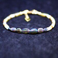 Filled October Birthstone 14th Anniversary Natural Black Opal Bracelet 14K Gold