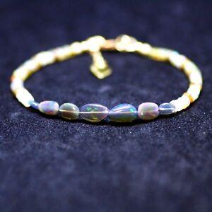 Natural Black Opal Bracelet 14K Gold Filled October Birthstone 14th Anniversary