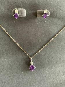 Sterling silver purple stone necklace & earring set  -  New without tags