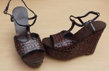 ASH LEATHER WEAVE PLATFORM WEDGE T STRAP SANDALS>BN>£180+>6uk>39>SHOES>WOVEN>