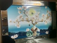 BLOSSOM TREE FLORAL VINTAGE CRYSTAL LIQUID ART MIRROR FRAME PICTURE SHIMMER WALL