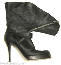 Rick Owens Black Distressed Leather Fold Over Zipper Heel Boots sz 40 / US 10