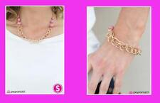 New Cool Paparazzi 2pc Set Necklace and Matching Earrings & Bracelet, Pink