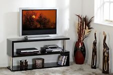 Black High Gloss / Chrome Flat Screen TV Stand W120cm x D35cm x H60cm CHARM
