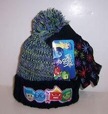 Disney INSIDE OUT Warm Thick KNIT HAT Beanie Cap & GLOVES Glove SET Pom-Pom NEW!
