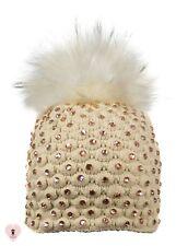 Alex Max unique designer embellished Fur Pon Pon Hat - Beige - Design From Italy