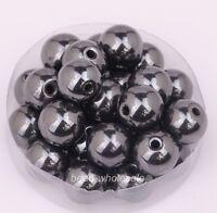 4/6/8/10mm Black Hematite Round Ball Spacer Beads magnetic/non Jewelry DIY /MY