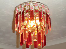SHABBY RETRO VINTAGE CHIC LOOK CHANDELIER CEILING LIGHT SHADE RED PINK DROPS NEW