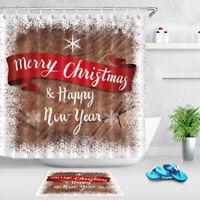 Merry Christmas Wood Board Snowflake Bathroom Fabric Shower Curtain Set w/ Hooks