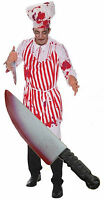 Bloody Butcher Evil Zombie Chef Apron Mens Halloween Fancy Dress Costume + Knife