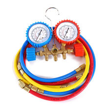 R12 R22 R134a R502 Manifold Gauge Set HVAC A/C Charging Service with 3 Hoses
