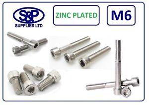 M6 Cap Head Socket Screw Allen Bolt Steel Grade 12.9 Zinc Plated DIN912 6MM/6mm
