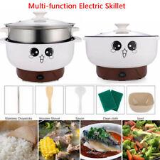 110V Home Electric Skillet Nonstick Hot Pot Noodles Rice Cooker for 1-2 Person