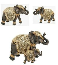 Shudehiill Wood Effect Black and Gold Elephant Ornament Figures New Design