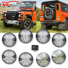 Clear Complete LED Lamp Upgrade Kit 73MM For Land Rover Defender 90 110 1983-