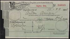 1895 US POSTAL MONEY ORDER XF DAYTON, OHIO BR6031