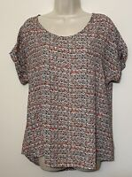 Pleione Small l Blouse Brown & Red Short Sleeve Relaxed Fit Oversized Tunic Top