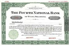 "The Fourth National Bank (Tulsa Okla).""Specimen&#034 ;Common Stock Certificate"