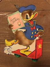 VINTAGE 1940s Birthday Card Donald(?) Duck with Fuzz! On a Scooter! Hallmark!