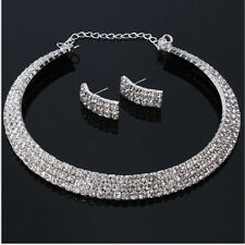 Pretty Wedding Bride Accessories Jewelry Rhinestone Necklace Earrings Set 3 Rows