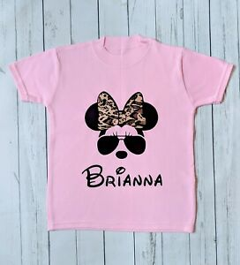 Personalised Minnie Mouse T-shirt (gift, birthday, custom, cool, leopard print)