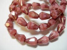 15 Czech Glass Pink Opal with Bronze Faceted Teardrop Beads 8x5mm